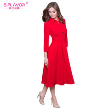 S.FLAVOR Women Casual Shirt Style Solid Dress Turn-down Collar 3/4 Sleeve Spring Summer Vestidos For Women Slim A-line dress(China)