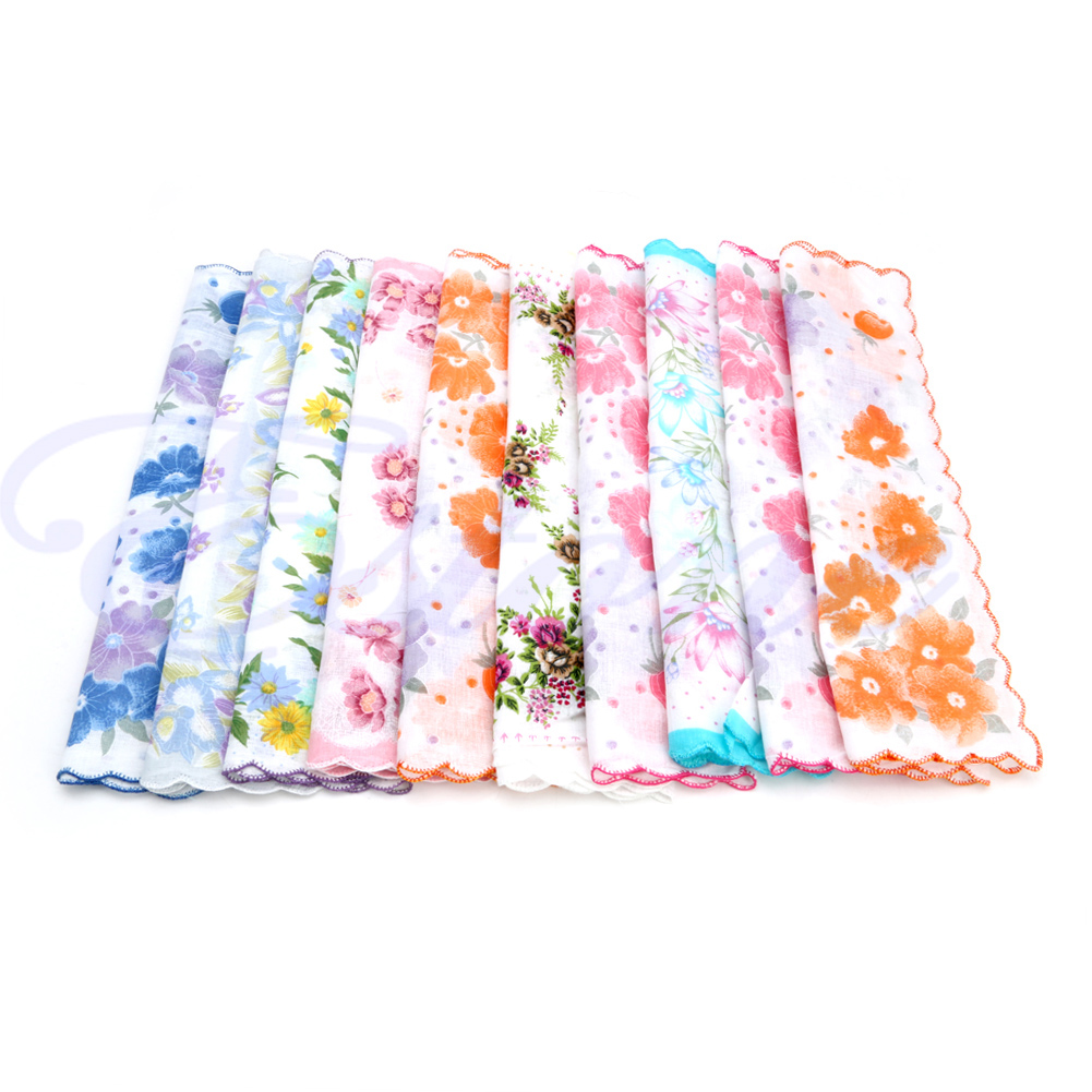 KLV 10Pcs/Set Ladies Vintage Cotton Hanky Floral Print Handkerchief Hot New Crescent - Side Cotton Handkerchief Random Color