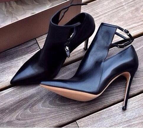 Hot Selling Pointed toe Ankle Boots Woman Fashion Thin Heels Boots Ankle Strap Cut-outs High Heel Boots Black Leather Pumps new fashion sexy open toe ankle boots green velvet thin heels boots 2016 woman high heel boots peep toe cut outs boots