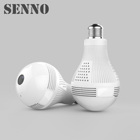 1080P Infrared WiFi Wireless IP Camera Lamp Light With Panoramic Fisheye Lens For Remote Home Security System Moniton Detection