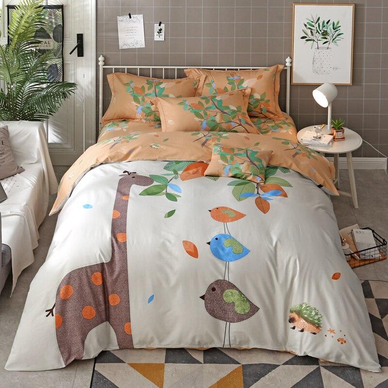 font b Cute b font Cartoon Animal Giraffe Bear Print Bedding Set Queen King Size