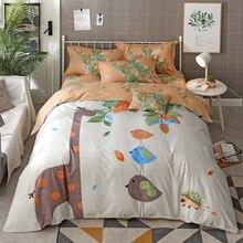 Cute Cartoon Animal Giraffe Bear Print Bedding Set Queen King Size Cotton Fabric Duvet Cover Bed Sheets with Pillow Case