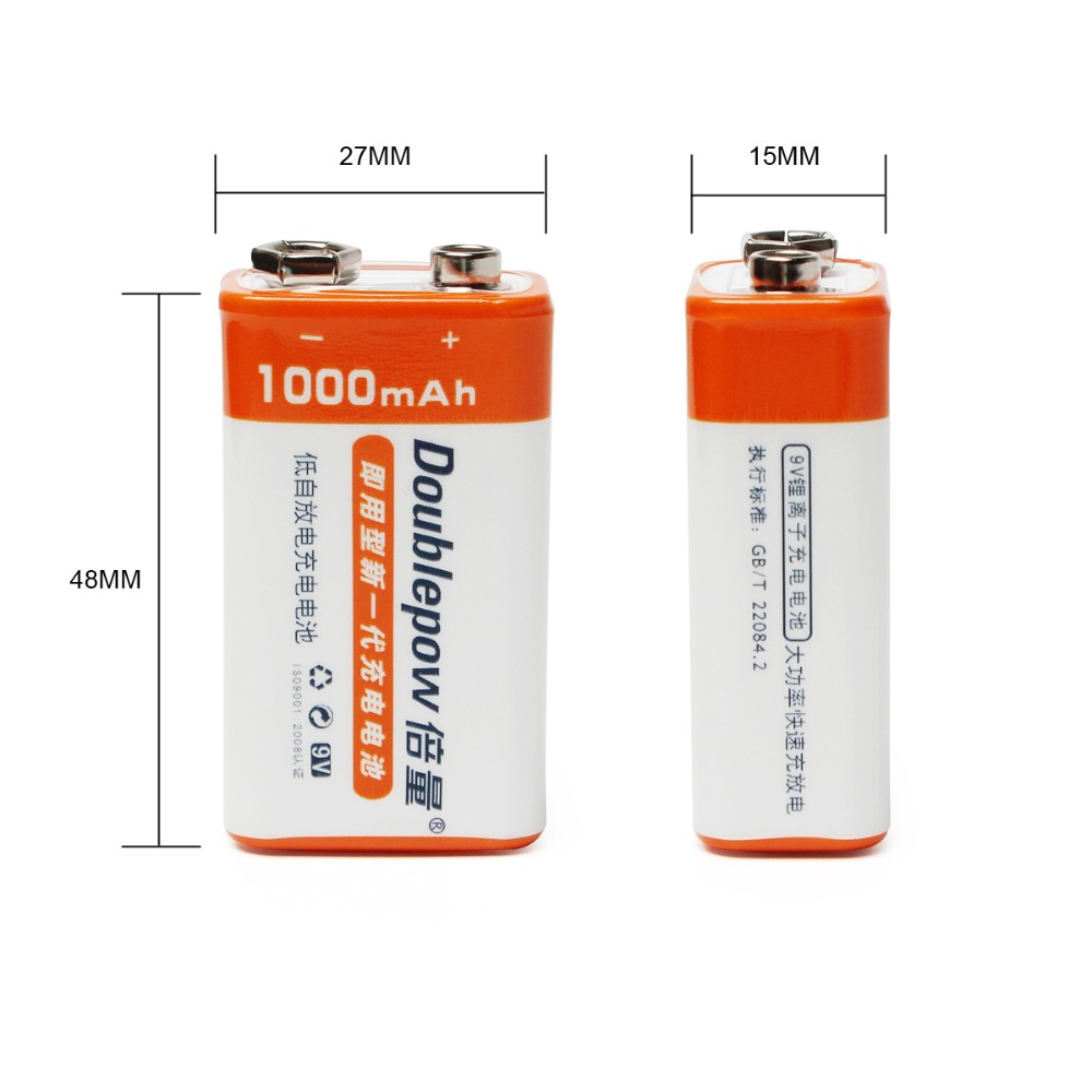 2pcs/set Doublepow 9v 1000mah Li-ion Lsd Rechargeable Battery For For Radio/camera/toys Etc