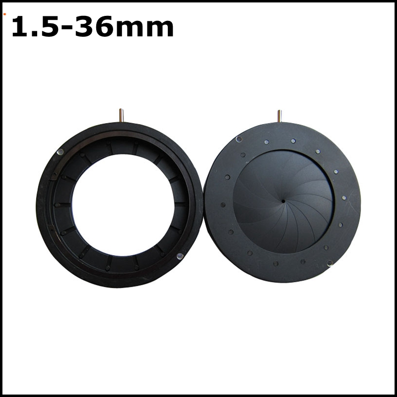 1.5-36mm Zoom Optical Iris Diaphragm Aperture Condenser with 14 Blades for Digital Camera Microscope Adapter [randomtext category=