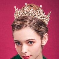 Baroque Vintage Rhinestone Hair Accessories Pageant Wedding Round Big Tiara Full Circle Pink Pearl Bridal Prom Crown For Bride
