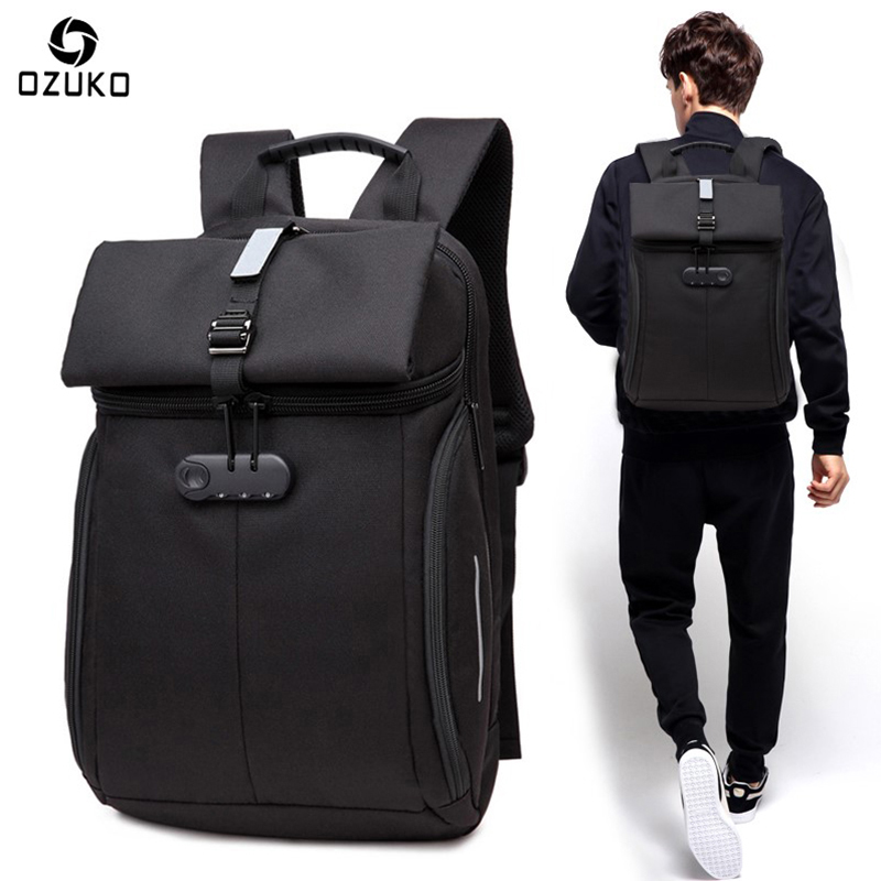 New OZUKO Waterproof Men Backpack Password Lock Laptop Bag Anti-theft Backpack School Bag Travel Fashion Multifunctional Mochila arctic hunter design 15 6 laptop backpacks men password lock backpack waterproof bag casual business travel backpack male b00208
