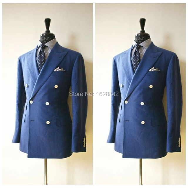 2016 Romantic Blue Blazer Double Breasted One Pieces Formal Wedding Suits Jacket Lapel Pockets Tailor Made Slim Fit Ternos