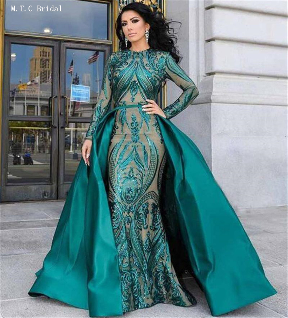 Custom Made Green Mermaid Long Sleeve   Prom     Dresses   Detachable Train Floor Length Exquisite Sequin Lace Arbic Evening Gowns 2019