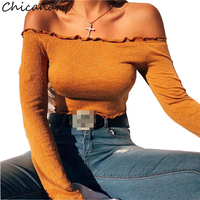 Chicanary Autumn Off Shoulder Tops Long Sleeve Tee Shirt Women Rib Knit Lettuce Edge Crop Bardot
