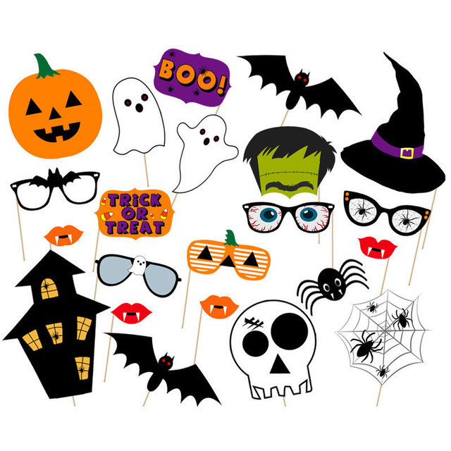 New Horror Halloween Skulls Photo Booth Party Bugs Stickers Take Pictures Photo Props Set