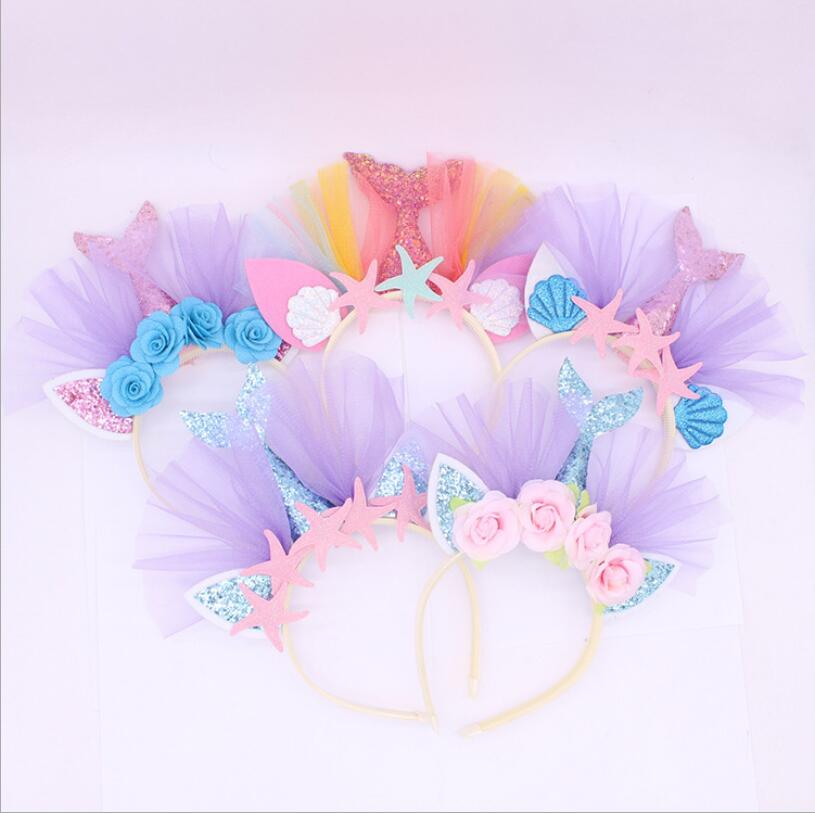 European and American children's   headwear   gold powder mermaid headband beach theme party series hair accessories