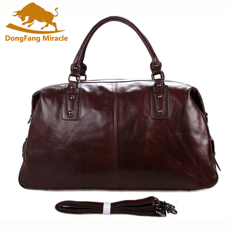 DongFangMiracle Men Bags Multifunction Men Genuine Leather Travel Bags Man Tote Bag For Business Man Large