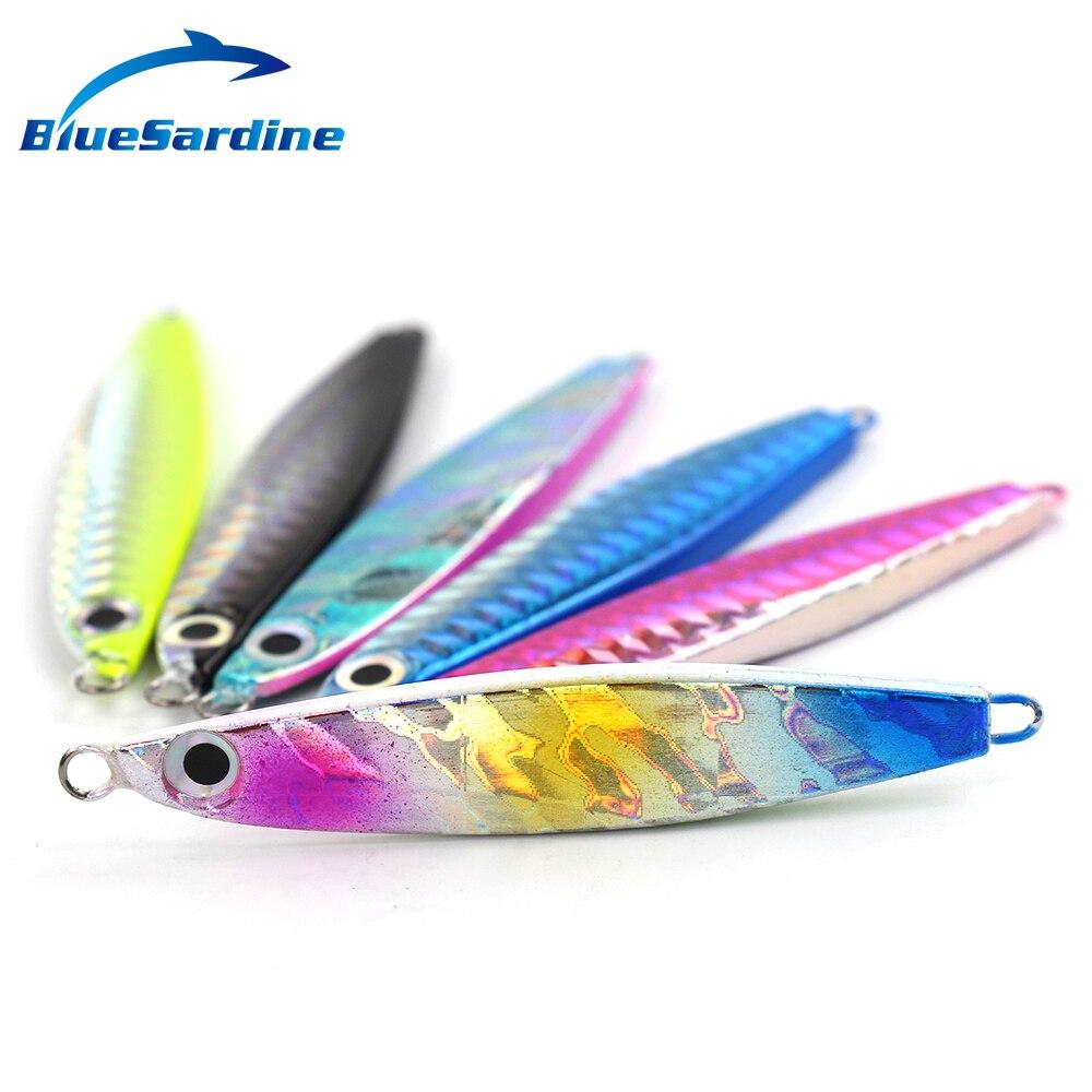 BlueSardine 22G 7.5CM 6PCS Jigging Lure Olověná ryba Kovová Jig Rybářská návnada Paillette Nůž Wobler Umělá tvrdá návnada Laser Body