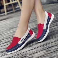 Women Flats Slip On Canvas Shoes Platform Sneakers Ladies Flats Red Sneakers Woman Casual Platform Shoes