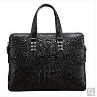 baosidu Import Crocodile leather men's handbag business Big document computer bag black