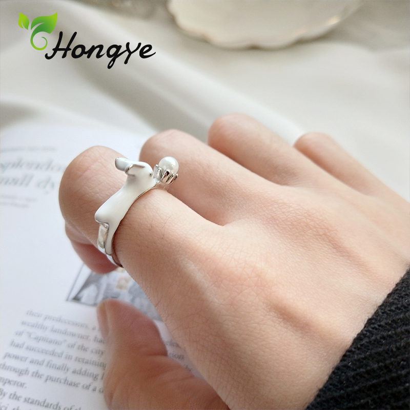 Cute Rabbit Pearl Ring Women Silver 925 Real Brand Adjustable Finger Accessories Silver Jewelry Female Summer Created Women Ring