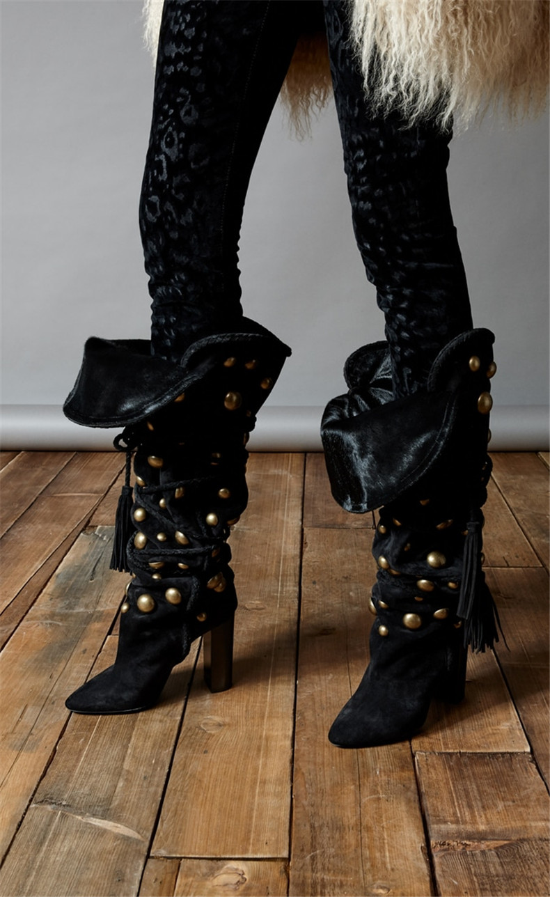 Black suede lace up thigh high over the knee boots rivets studded high heels booties autumn winter shoes woman motorcycle 2018 black suede studded mini skirt