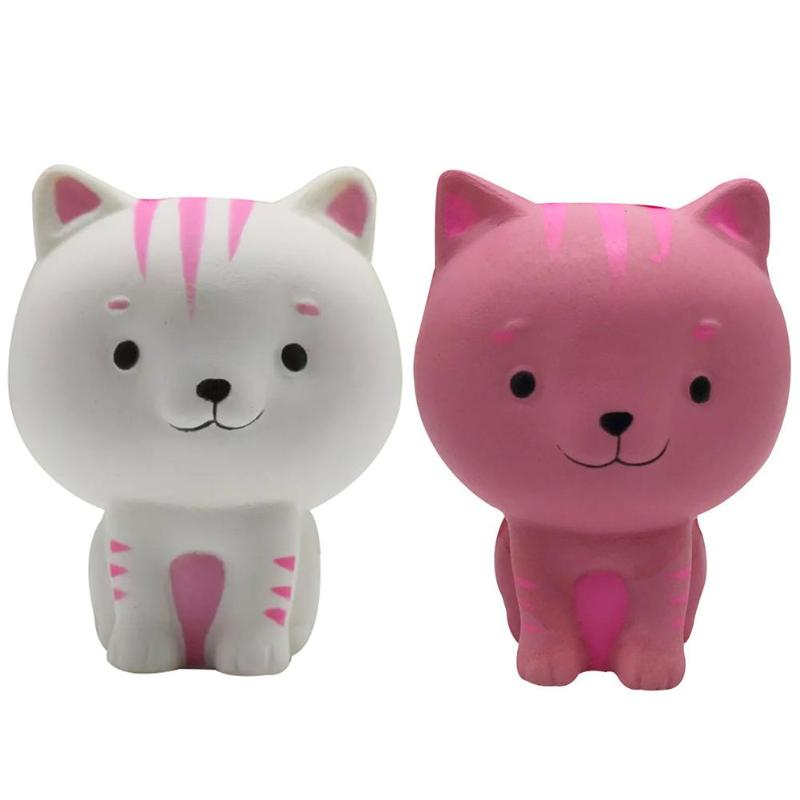 Slow Rising Squishy Cartoon cats Anti Stress Toys White/ Pink Slow Rebound Toy Simulation Cat PU Squishies baby toy