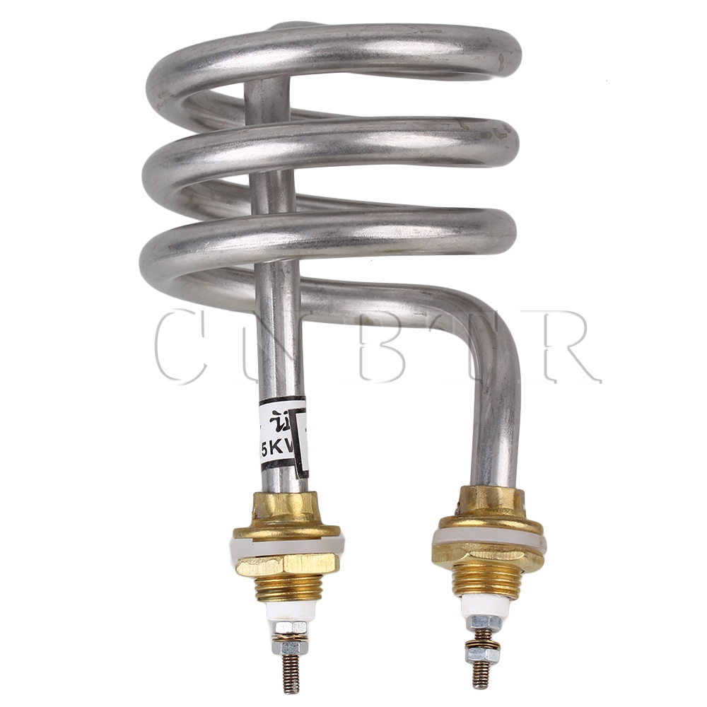 CNBTR Home Silver Tone Stainless Steel Electrical Spiral Heating Element Helix Booster For Water Heater AC 220V 2500W ljxh standard type water heating element electric tube heater for open bucket 304 stainless steel copper pipe 220v 2kw 2 5kw 3kw