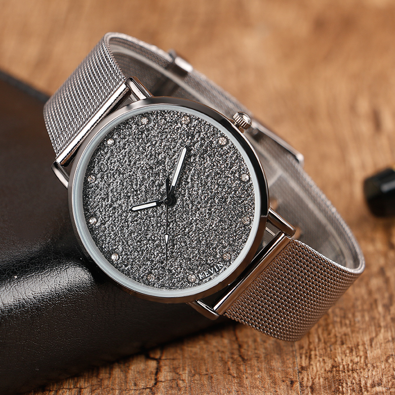 Hot KEVIN 4 Type Black Watch Simple Relojes Clock Brief Classic Quartz Wristwatches Web Mesh Band Casual Couple Hours Relojes