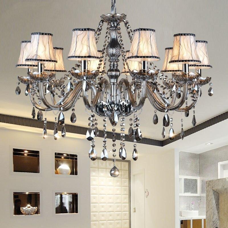 Новые современные светодиодные хрустальные люстры для кухни, гостиной, спальни, серого цвета, K9 хрустальные люстры, Потолочная люстра