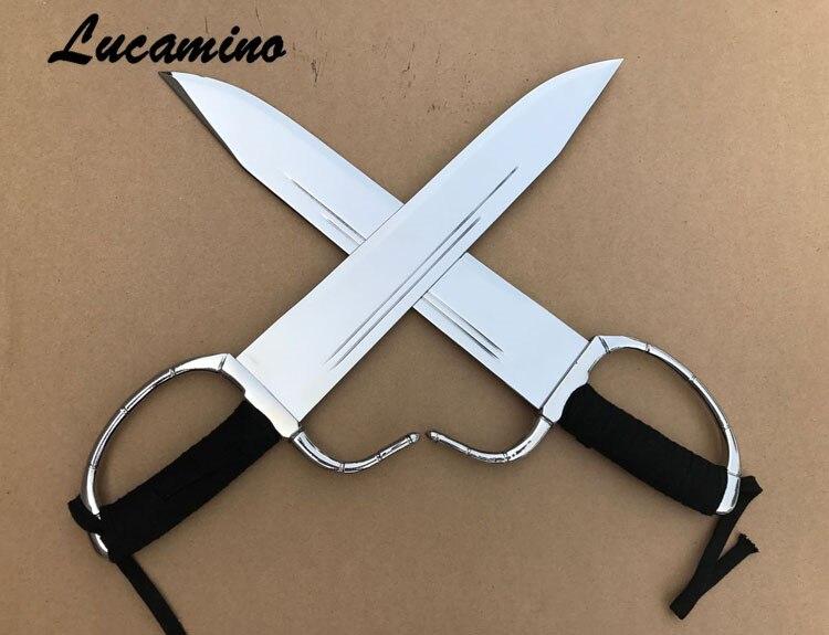 Wing Chun Épées Wing Chun Dao Bart Cham papillon double couteaux d'ébène en bois/corde poignée moitié aiguisé combat bart cham dao