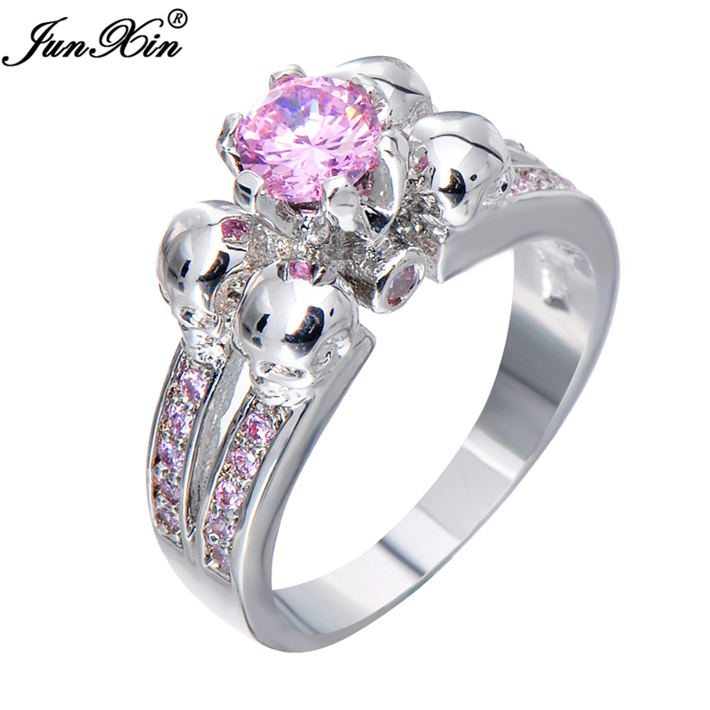aliexpresscom buy junxin cute pink skull ring vintage wedding rings for women fashion white gold filled jewelry bague femme anies rw1220 from reliable - Cute Wedding Rings