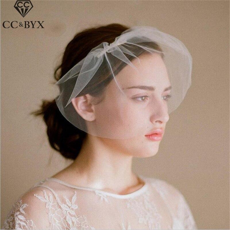 CC Jewelry Wedding Bridal Veil Short For Women Hair Accessories New Elegant Simple Design Engagement Hairwear Cheap Gift V012