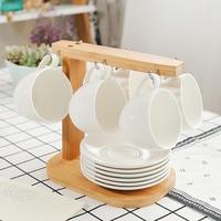 Набор кофейных чашек и блюдца с деревянной рамкой простой белый фарфоровый чайный набор посуды домашний посетитель керамический кофейный