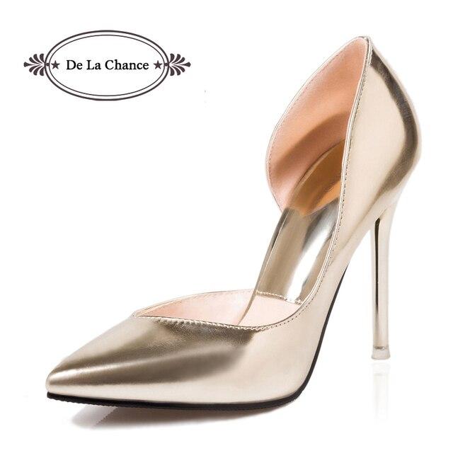Nuevo 2016 Plata Tacones Stilettos Tacones Altos Primavera Verano Punta estrecha Tacones Finos Mujeres D'orsay Bombas Zapatos de Fiesta Zapatos de Las Señoras