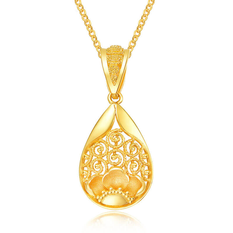 New Arrival 999 Yellow Gold Hollow Water Drop Pendant 3.04g