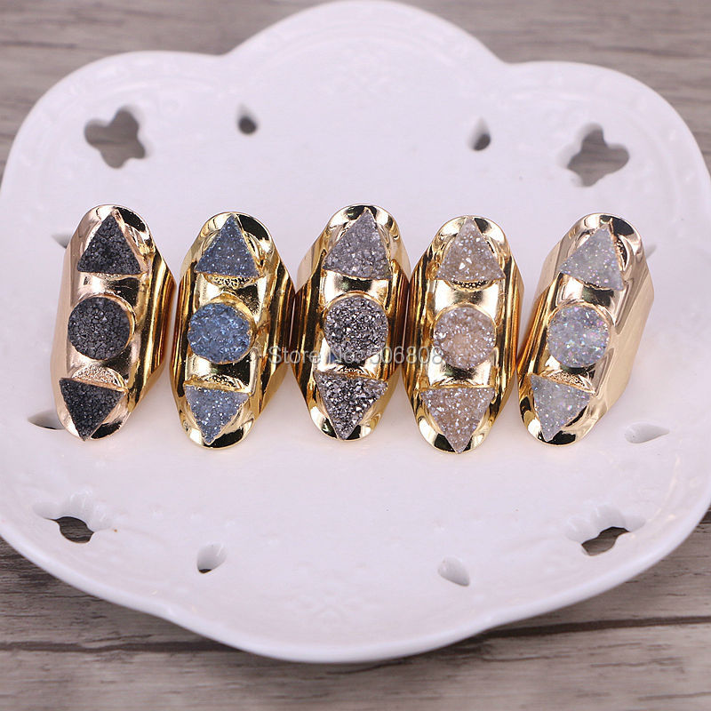 6PCS Nature Quartz Stone Rings Triangle and Round shape titanium crystal drusy cuff rings ZYZ159 0624