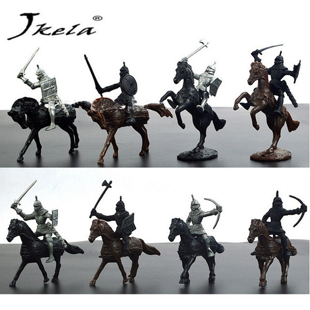 [Jkela] 28pcs/set Knights Warrior Horses Medieval Toy Soldiers Figures Playset Mini Model Toys Gift Decor For Children Adult 12pcs set children kids toys gift mini figures toys little pet animal cat dog lps action figures