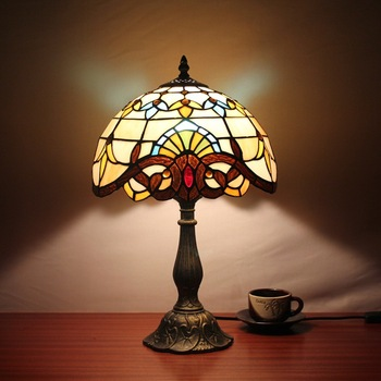 12 Inch Dragonfly Baroque Stained Glass Lampshade Tiffany Table Lamp Country Style Bedside Lamp E27 110-240V