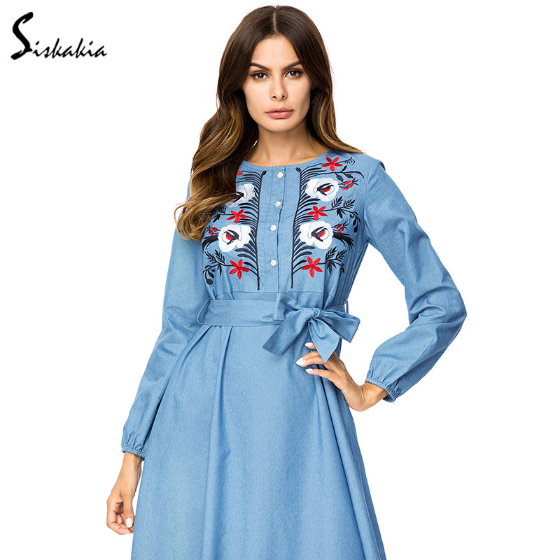 Siskakia Fashion Flower Embroidery Denim Dress women plus size maxi dresses  Bow slim sashes Empire swing dress Arab UAE muslim-in Dresses from Women s  ... e3fdf86cb63e
