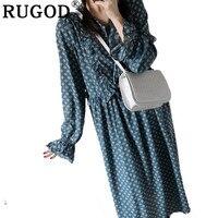 RUGOD Casual Vintage Long Women Dress Dot V Neck Prairie Chic Dress 2019 Straight Spring Dress vestidos verano 2018
