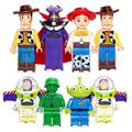 8 unids/lote SY172 Historia Buzz Lightyear Toy Story Woody Building Blocks Juguetes Woody Jessie Emperador Zurg Squeezy Extranjeros