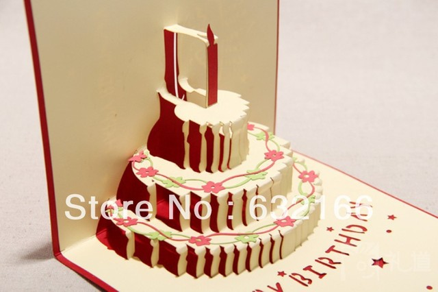 Free Shipping Wholesale 3d Colorful Happy Birthday Cake Greeting