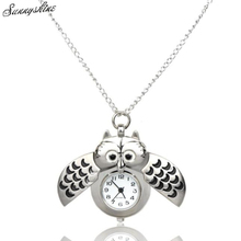 Mini Metal owl double open Quartz Women Watches Pendant Hanging wholesale vF3