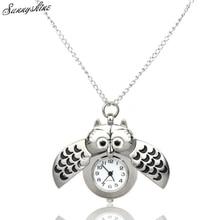 Mini Metal owl double open Quartz Women Watches Pendant Hanging wholesale vF3
