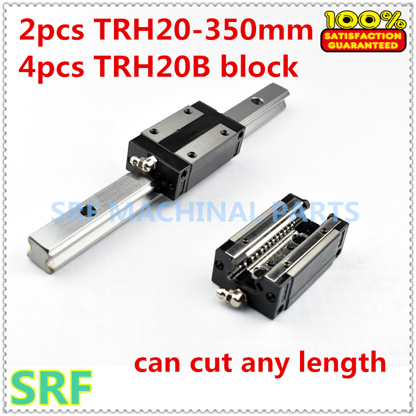 High quality 2pcs 20mm width Linear Guide Rail  TRH20  L=350mm  with 4pcs TRH20B Pillow block for cnc tbi 2pcs trh20 1000mm linear guide rail 4pcs trh20fe linear block for cnc