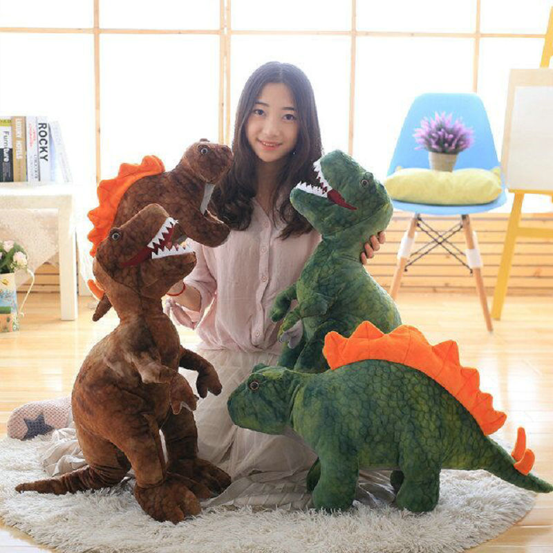 Green/brown Boy Dinosaur pillow plush toys Cute plush tyrannosaurus doll plush toys stuffed plush animals kids toy birthday gift hot sale cute dolls 60cm oblong animals pillow panda stuffed nanoparticle elephant plush toys rabbit cushion birthday gift