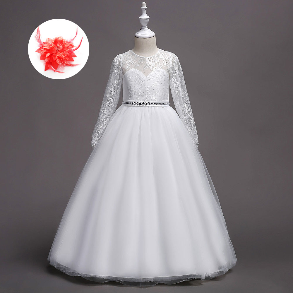 Luxury 2019 Flower Girls Pageant Dress Beautiful Rhinestone Belted First Communion Gown Girls White Princess Dresses