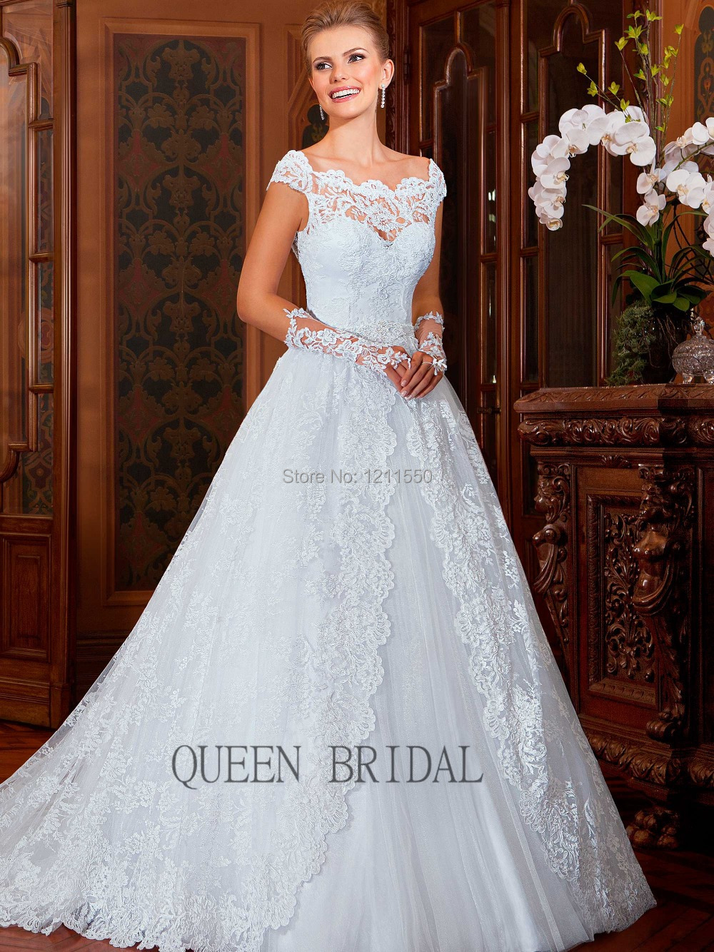 Vestido noiva 2015 nuevo romántico vestido de novia con tren de la ...