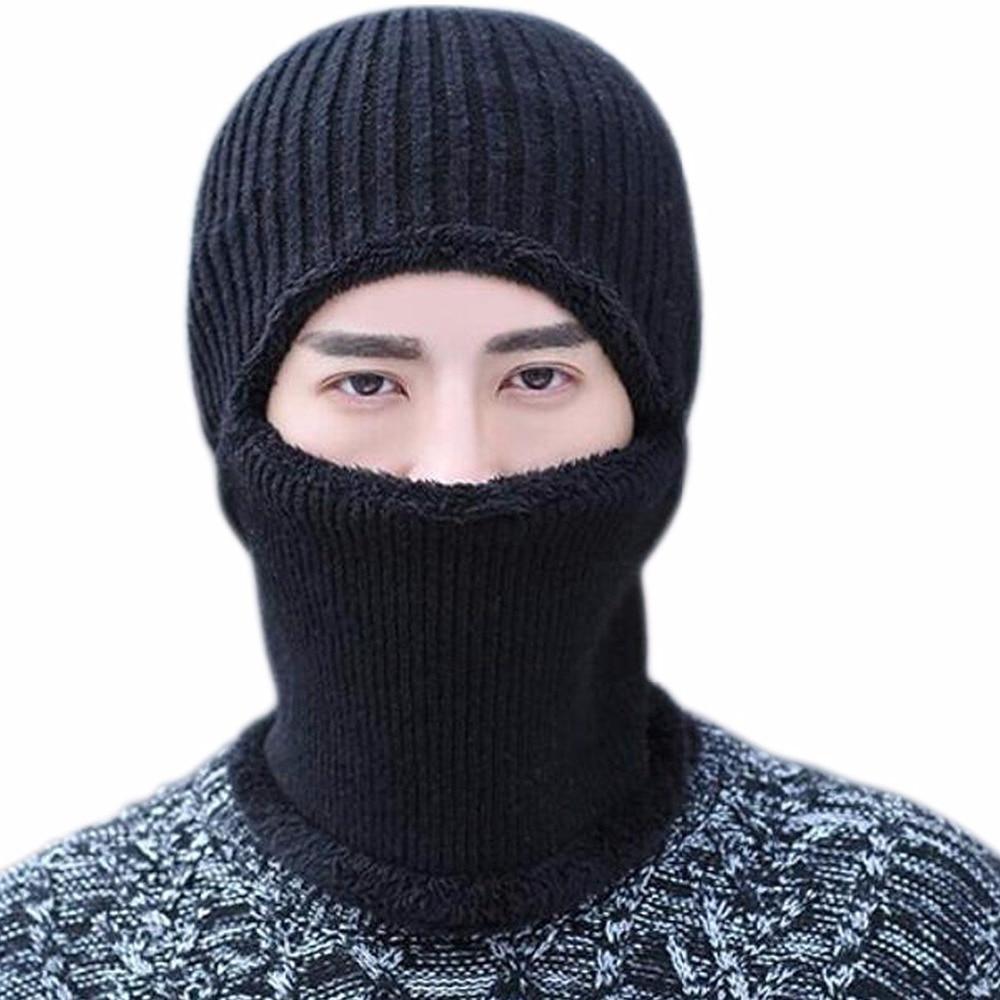 Men Women Warm Balaclava Knitted Winter Hat Thermal Fleece Full Face Mask   Skullies     Beanies   Windproof Russia Cap Neck Warmer