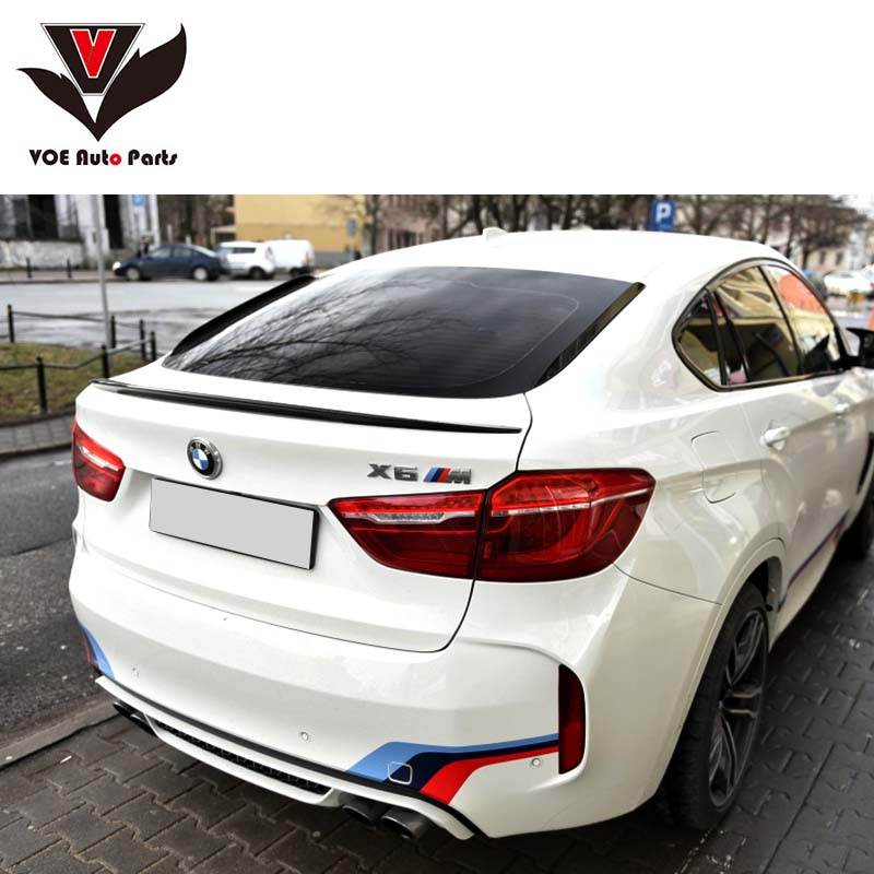 2015 2016 F16 X6 M-Style ABS Plastic Black Painted Car-Styling Rear Wing Lip Spoiler for BMW F16 X6 and X6M g30 v style abs unpainted primer rear trunk lip spoiler wing for bmw 530i 540i g30 2017up
