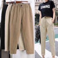 Bege de cintura alta calças casuais femininas soltas primavera outono 2019 novo coreano magro harem calças plus size nove calças 3xl f279