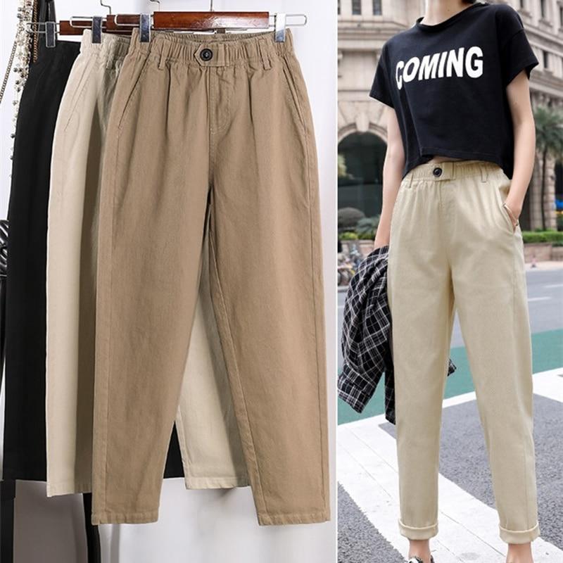Pantalones Beige casuales de cintura alta para mujer holgados primavera otoño 2019 nuevos pantalones de harén coreanos delgados talla grande nueve pantalones 3XL F279