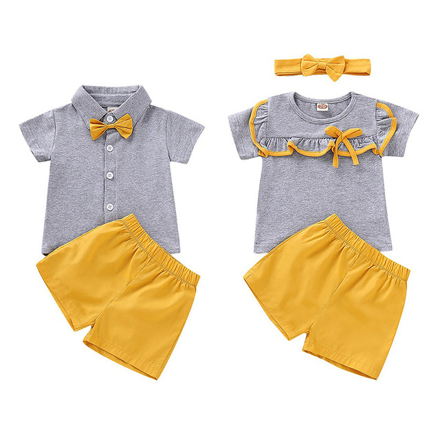 2019 New Summer Baby Girls Boys Short Sleeve Solid Print T-shirt Tops+Shorts Suits Casual Outfits Sets Brother and Sister Suits