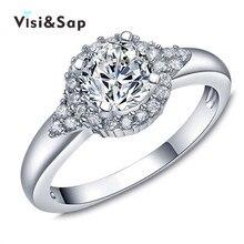 Vissap Hot White Gold plated round fashion Jewelry Bijoux Wedding Rings For Women Wholesale cz diamond high quality VSR158